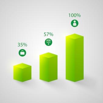 Zestaw zielonych wykresów