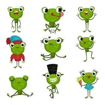 Zestaw zielonych żab w różnych pozach iz różnymi emocjami. śmieszne humanizowane ropuchy. kolorowe ikony płaskie