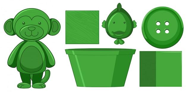 Zestaw zielonych zabawek