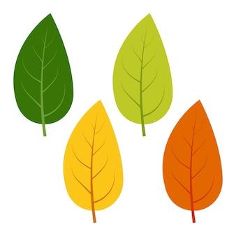 Zestaw zielonych, żółtych i czerwonych liści na białym tle. ilustracja wektorowa jesiennych liści.