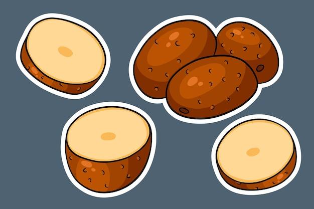Zestaw ziemniaków. całe ziemniaki, pokrojone w kliny, połówki. w naklejki w stylu kreskówki. ilustracja wektorowa do projektowania i dekoracji.