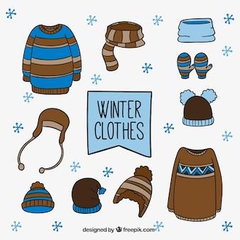 Zestaw zimowe ubrania z ręcznie rysowanych elementów
