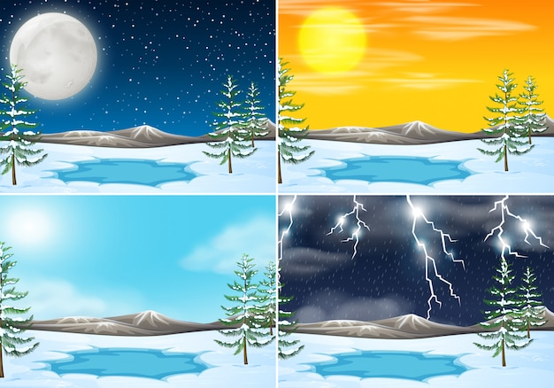 Zestaw zimowej sceny na świeżym powietrzu
