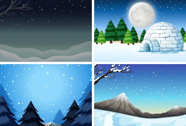 Zestaw zimowej sceny