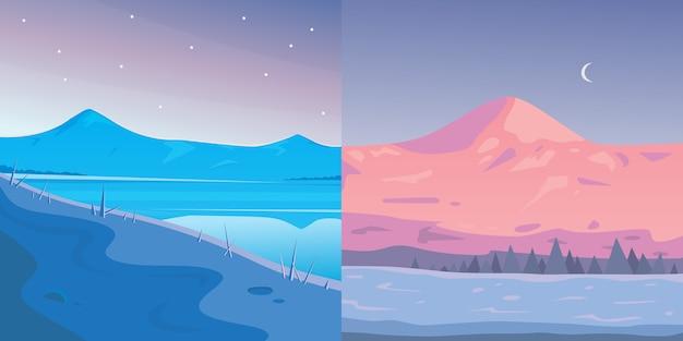 Zestaw zimowy krajobraz gór. ilustracja kreskówka na zewnątrz. śnieżna góra.