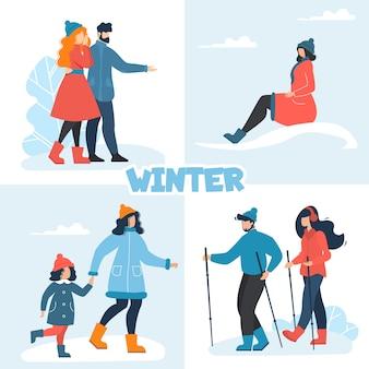 Zestaw zimowy z szczęśliwymi ludźmi, zabawy na świeżym powietrzu