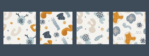 Zestaw zimowych abstrakcyjnych tła ładny wzór do projektowania dekoracyjne powtarzające się elementy