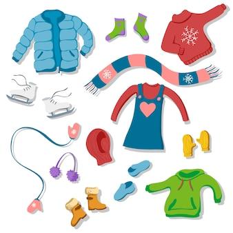 Zestaw zimowych ilustracji odzieży w stylu płaski