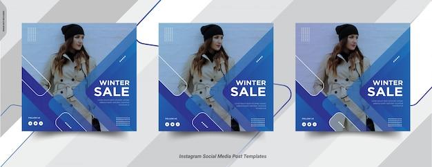 Zestaw zimowych insta post social media post szablonu projektu