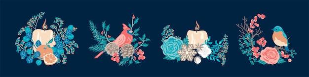 Zestaw Zimowych Kompozycji Dekoracyjnych. Koncepcja Bożego Narodzenia. Premium Wektorów