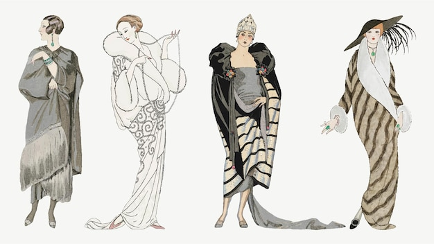 Zestaw zimowych płaszczy dla kobiet z lat 20. xx wieku, remiks dzieł sztuki autorstwa george'a barbier