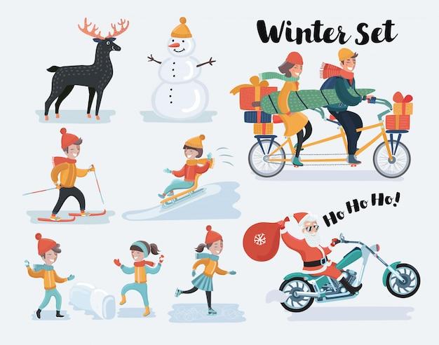 Zestaw Zimowych świąt Bożego Narodzenia. Ilustracja Premium Wektorów