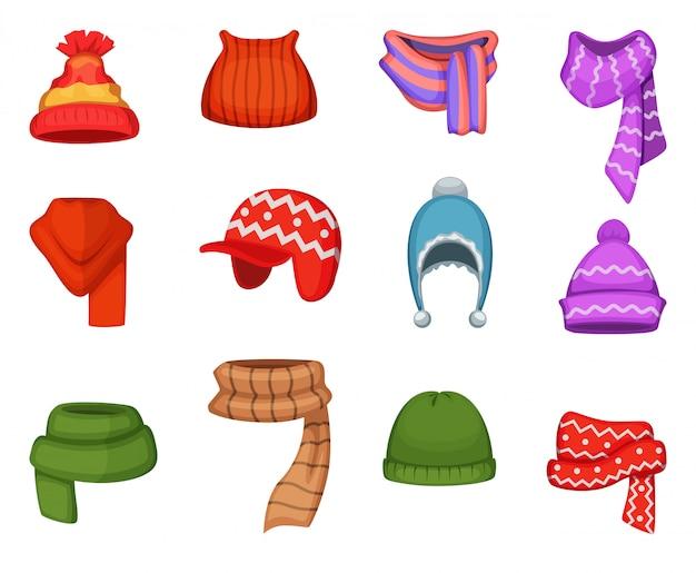 Zestaw zimowych szalików i czapek w różnych kolorach i stylach