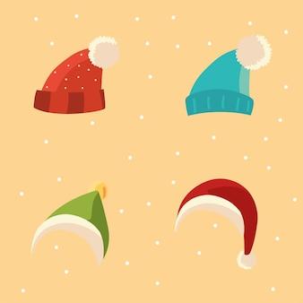 Zestaw zimowych ubrań ciepłe akcesoria ikony ilustracja