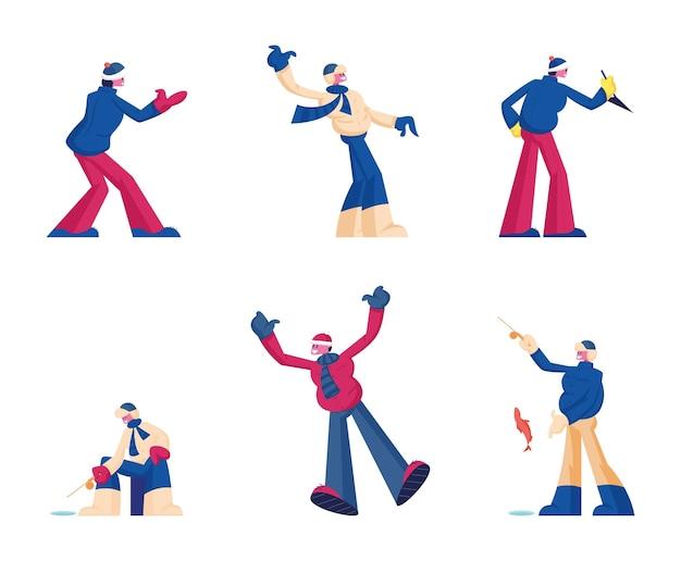 Zestaw zimowych zajęć na świeżym powietrzu i relaksujące hobby, takie jak łowienie ryb pod lodem, walka na śnieżki. płaskie ilustracja kreskówka