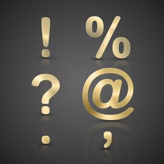 Zestaw złota alfabetu.
