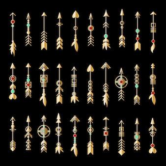 Zestaw złota strzałka. kolekcja elementów plemiennych. geometryczna modna kolekcja biżuterii hipster. elementy projektu wektorów.