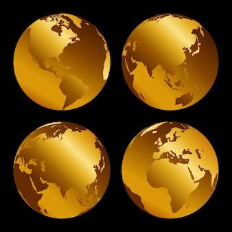Zestaw złote 3d metalowe globusy na czarnym tle, ilustracja vecor.