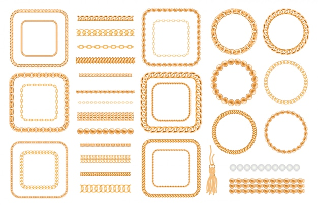 Zestaw złote łańcuchy i liny na białym tle