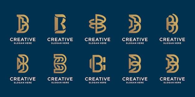 Zestaw złote logo początkowej litery b design.icon dla firmy, technologii, cyfrowej, eleganckiej.