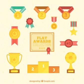 Zestaw złote nagrody w płaskiej konstrukcji