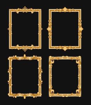 Zestaw złote ozdobne ramki vintage. filigranowe obramowanie z ilustracją miejsca na tekst. na białym tle prostokąty kaligraficzne z copyspace.