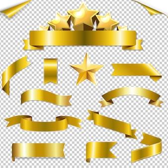 Zestaw złote wstążki i ilustracji gwiazd