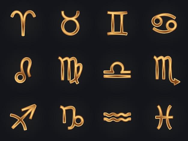 Zestaw złote znaki zodiaku wektorowe ikony. elementy horoskopu. symbole astrologiczne.