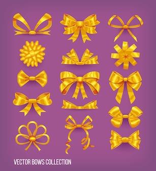 Zestaw złote żółte kokardki w stylu kreskówki i zawiązane wstążki. kolekcja elementów dekoracyjnych