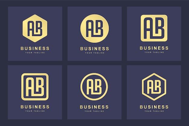 Zestaw złotego logo litery ab z kilku wersji