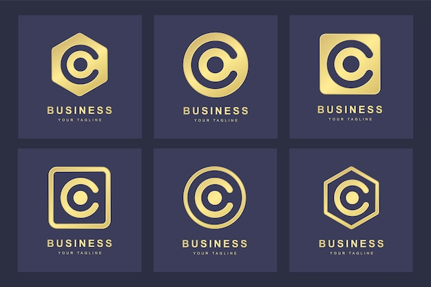 Zestaw złotego logo litery c z kilku wersji