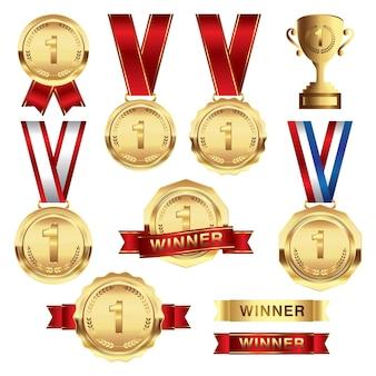 Zestaw złotego medalu ze wstążką i zwycięzcą pierwszego trofeum