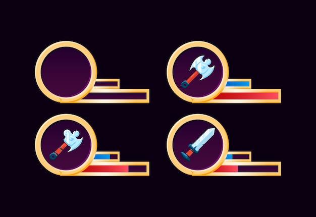 Zestaw złotego paska broni ze wskaźnikiem gui dla elementów zasobów interfejsu gry