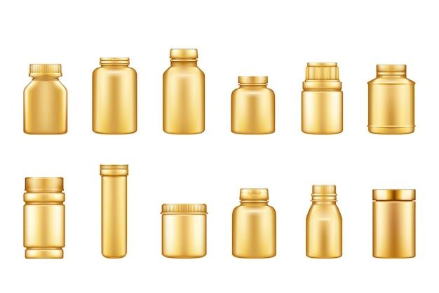 Zestaw złotego plastikowego słoika na suplementy