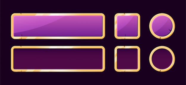 Zestaw złotego przycisku banner ui gry