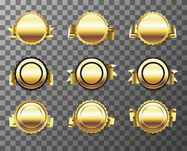 Zestaw złotej pieczęci z wstążkami na przezroczystym tle