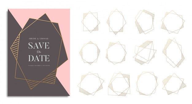 Zestaw złotej ramy geometrycznej