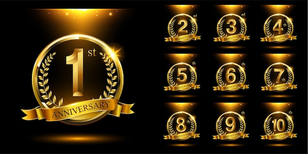 Zestaw złotej rocznicy logo wektor uroczystość z pierścieniem i wstążką