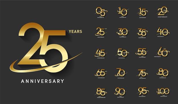Zestaw złotej rocznicy z świętowaniem logo swoosh