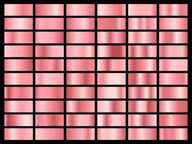 Zestaw złotej różowej folii. zbiór różowych pastelowych gradientów na białym tle.