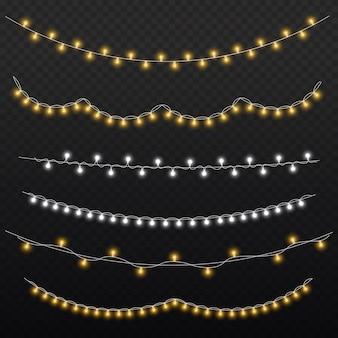 Zestaw złotej świątecznej świecącej girlandy led lampa neonowa nowy rok dekoracji bożonarodzeniowe światła białe