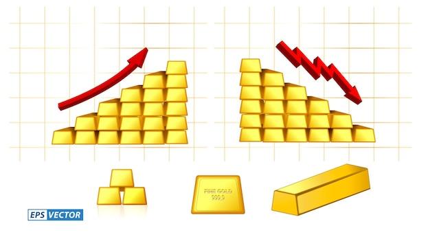 Zestaw złotej sztabki izolowanej lub cienkiej sztabki złota ułożonej z graficzną strzałką wektor eps wektor
