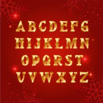 Zestaw złoty alfabet boże narodzenie