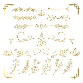 Zestaw złoty ornament kaligraficzny