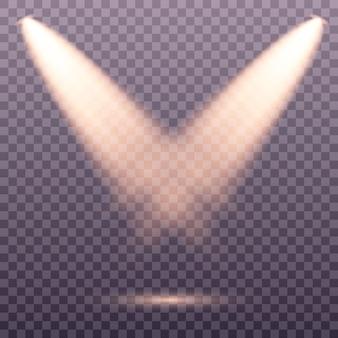 Zestaw złoty reflektor na białym tle. żółte ciepłe światła .. efekt świetlny zestaw wektora pojedyncze reflektory. swiatlo sceny.