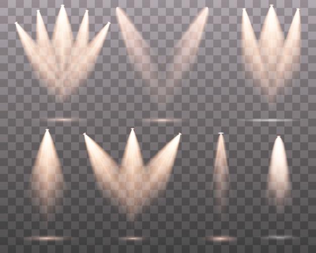 Zestaw złoty reflektor na białym tle. żółte ciepłe światła. ilustracja. efekt świetlny zestaw pojedynczych reflektorów. oświetlenie sceniczne na przezroczystym tle. kolekcja oświetlenia sceny