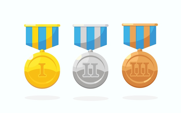 Zestaw złoty, srebrny, brązowy medal z gwiazdą za pierwsze miejsce. trofeum, nagroda dla zwycięzcy na białym tle. złota odznaka ze wstążką. osiągnięcie, zwycięstwo.