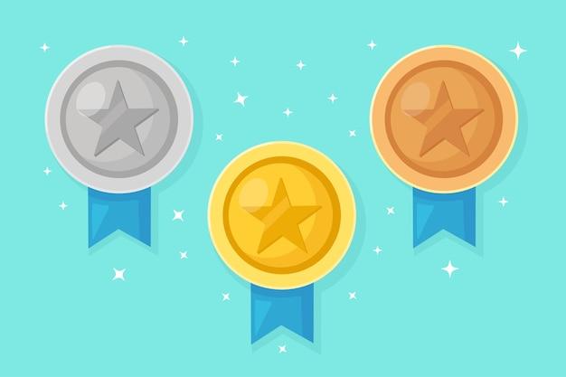 Zestaw złoty, srebrny, brązowy medal z gwiazdą za pierwsze miejsce. trofeum, nagroda dla zwycięzcy na niebieskim tle. złota odznaka ze wstążką. osiągnięcie, koncepcja zwycięstwa.
