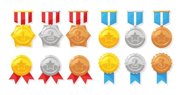 Zestaw złoty, srebrny, brązowy medal z gwiazdą za pierwsze miejsce. trofeum, nagroda dla zwycięzcy złota odznaka ze wstążką. osiągnięcie, koncepcja zwycięstwa.