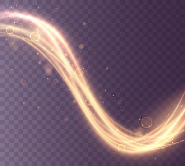 Zestaw złotych, błyszczących fal magicznych z drobinkami złota na przezroczystym tle. musujące ślady światła. futurystyczny flash. efekt świecących błyszczących spiralnych linii.